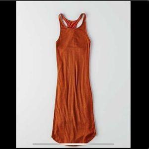 Rust orange ribbed bodycon dress
